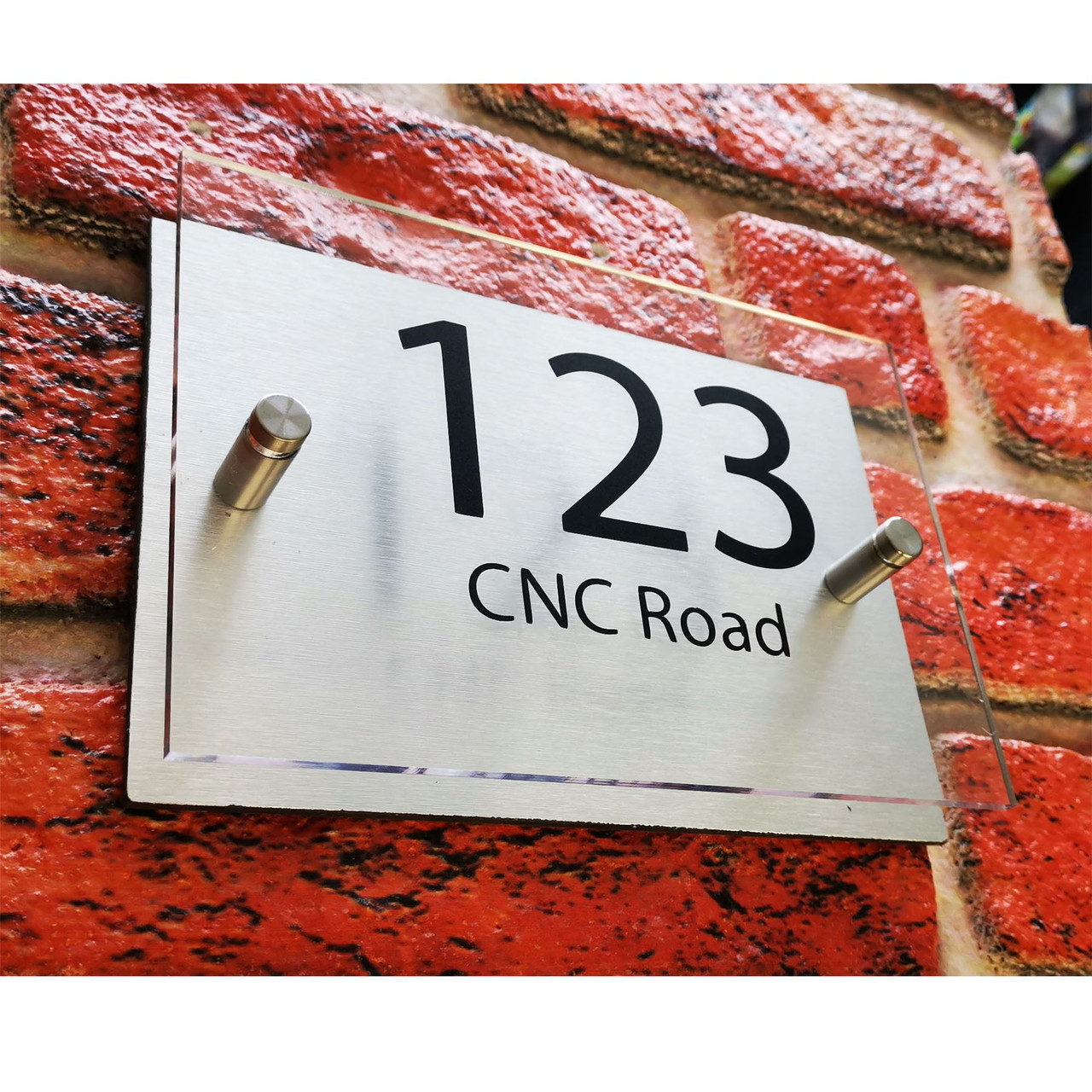 Personalised House Number Plaque Door Sign And Street Name Multiple Designs With Brushed Aluminium Backing Plate