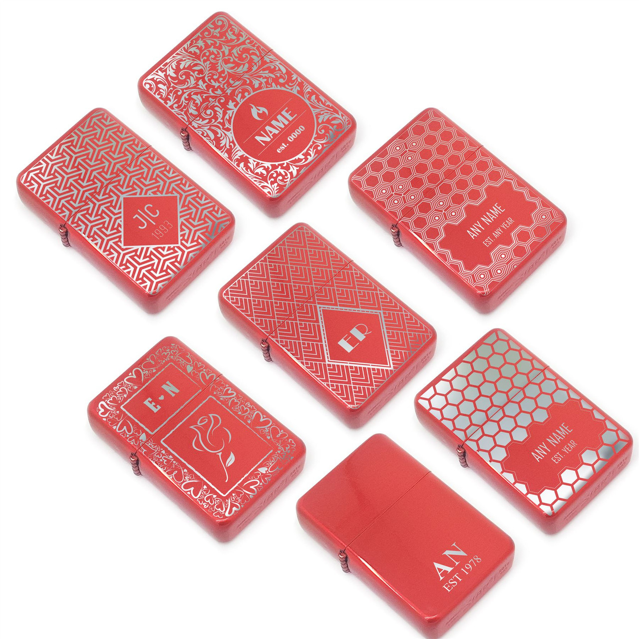 Personalised red lighters with pattern designs, gift box