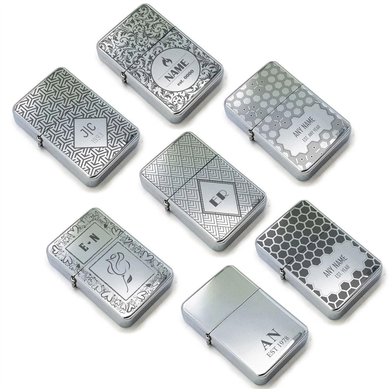 Personalised polished steel Lighters with Pattern Designs, gift box