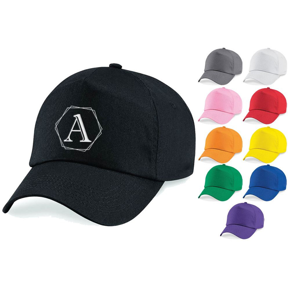 Embroidered Adults Cap with Polygon Initial Design
